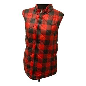 Men's Red and Black Checkered Vest